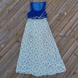 VINTAGE 90s Denim Floral Dress